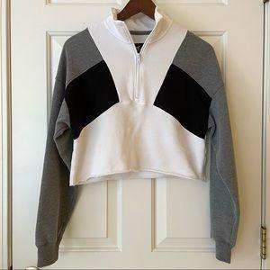 Hollister Tricolor Cropped Zip Up Sweatshirt